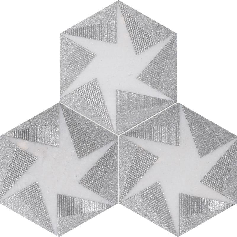 Fantasy White Polygons Black Diced Marble Tiles 20 3x20 3