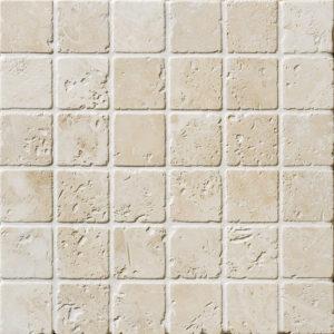 Ivory Tumbled 5x5 Travertine Mosaics 30,5x30,5