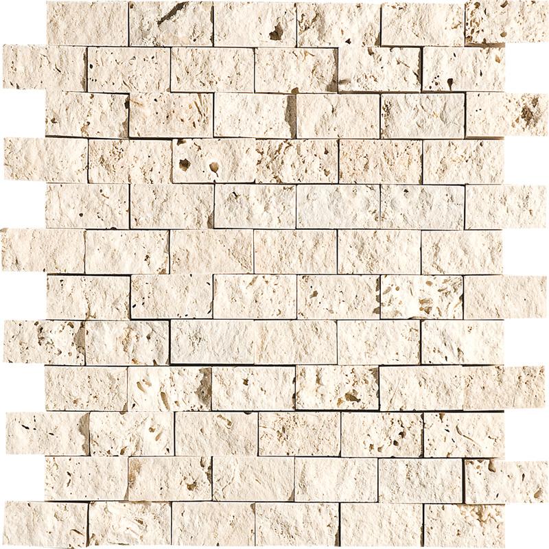 Ivory Rock Face 2,5x5 Travertine Mosaics 32x32
