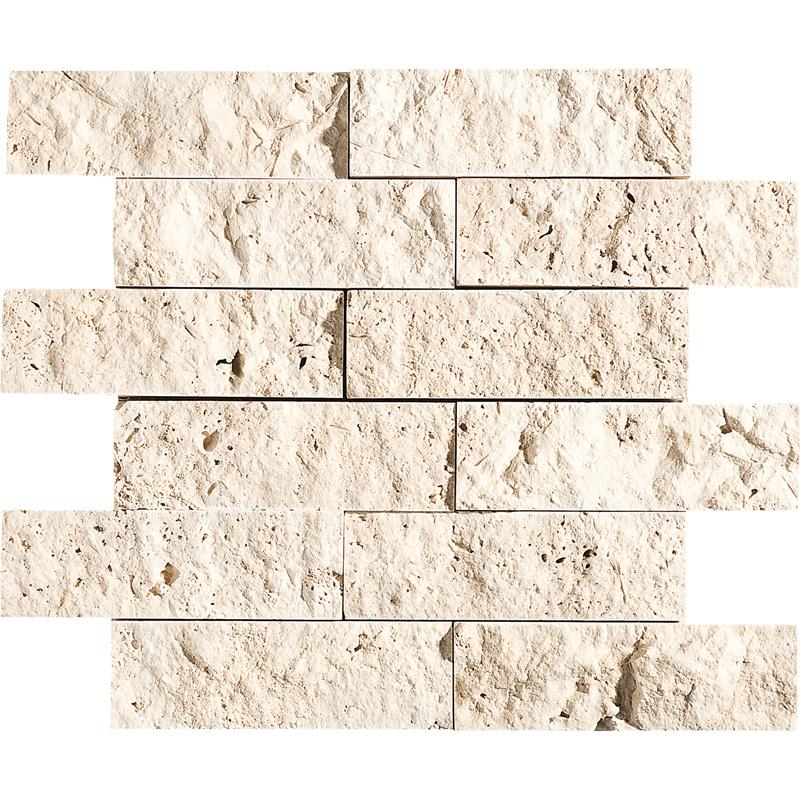 Ivory Rock Face 5x15,2 Travertine Mosaics 30,5x30,5