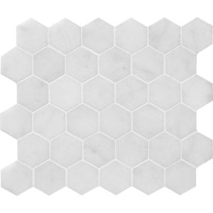 Glacier Honed Hexagon Marble Mosaics 26,5x31