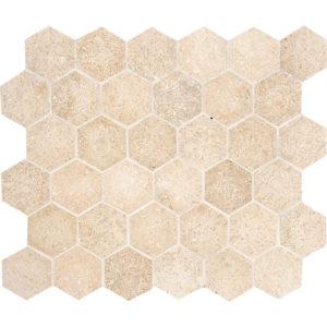 Seashell Honed Hexagon Limestone Mosaics 26,5x31