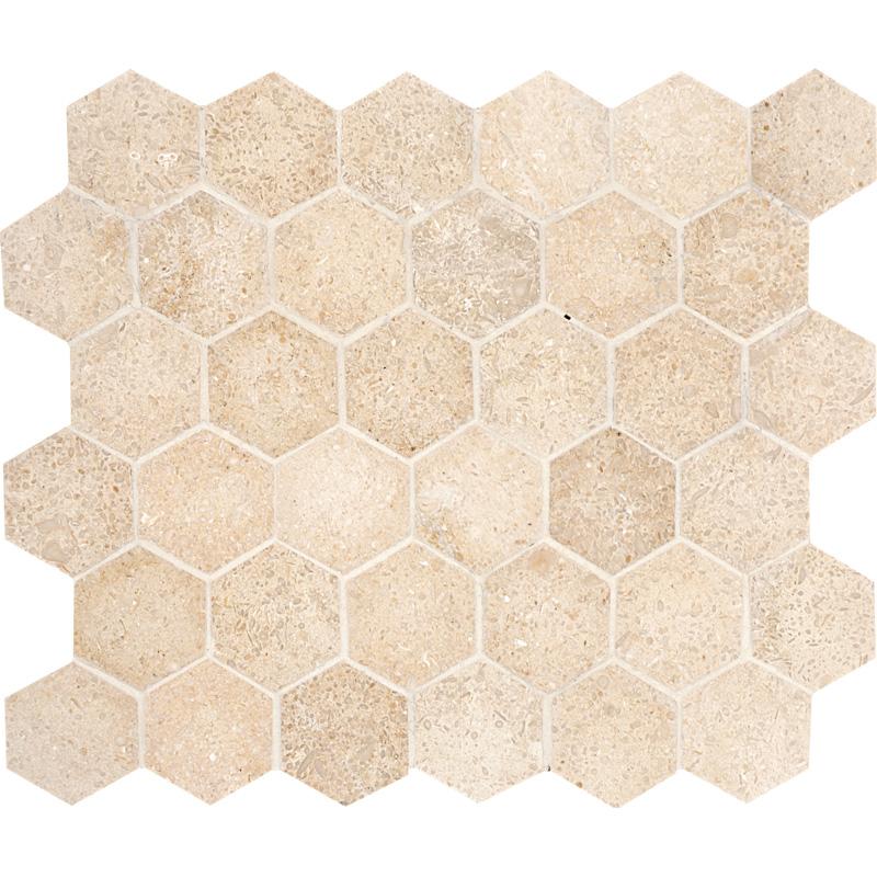 Seashell Honed 26,5x31 Hexagon Limestone Mosaics