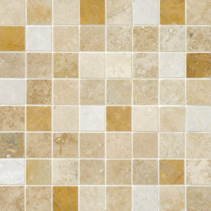 Aspen Dawn Honed&filled 2,3x2,3 Travertine Mosaics 30,5x30,5
