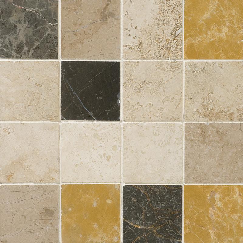 Aspen Dusk Honed&filled 7,62x7,62 Travertine Mosaics 30,5x30,5