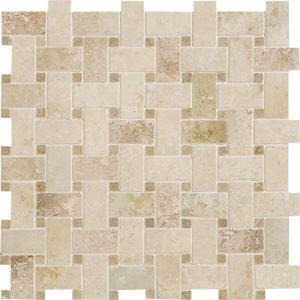 Canyon&walnut Dark Honed&filled Basket Weave Travertine Mosaics 30,5x30,5