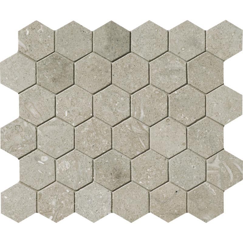 Olive Green Honed 26,5x31 Hexagon Limestone Mosaics