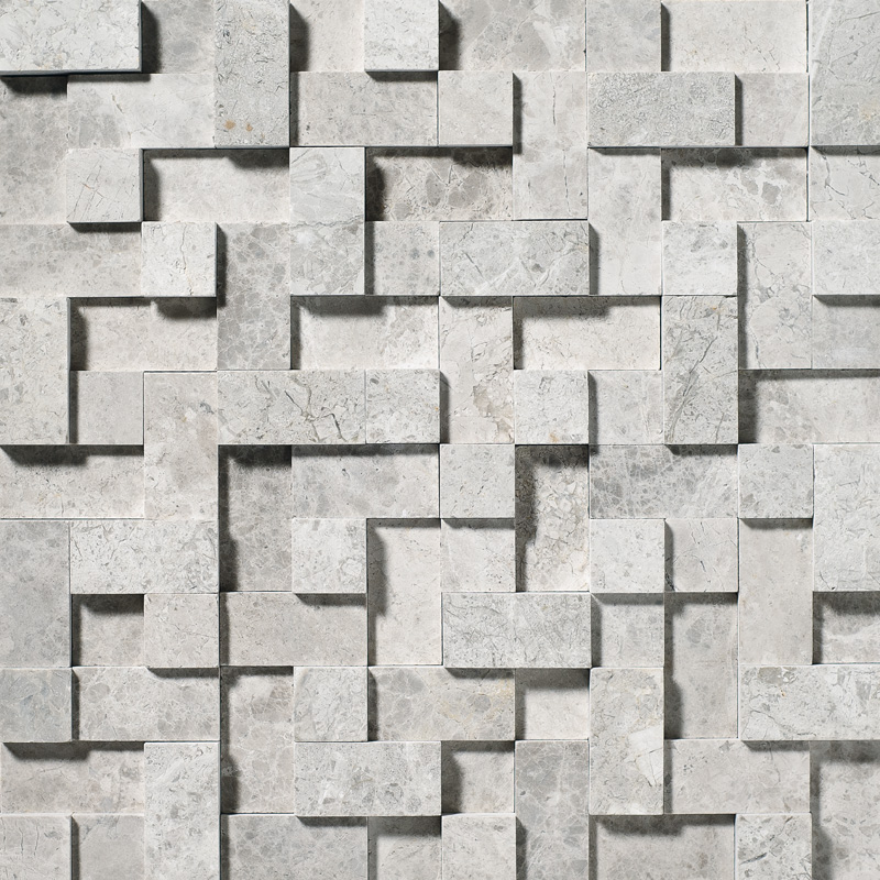 Silver Shadow Honed 30,5x30,5 Random Cubes Marble Mosaics