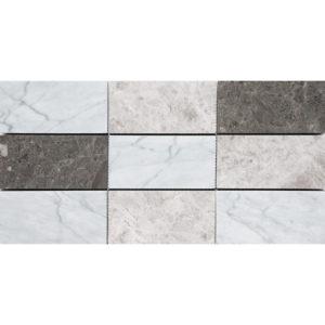 Massa Honed Subway On Mesh Marble Mosaics 21,5x42,5