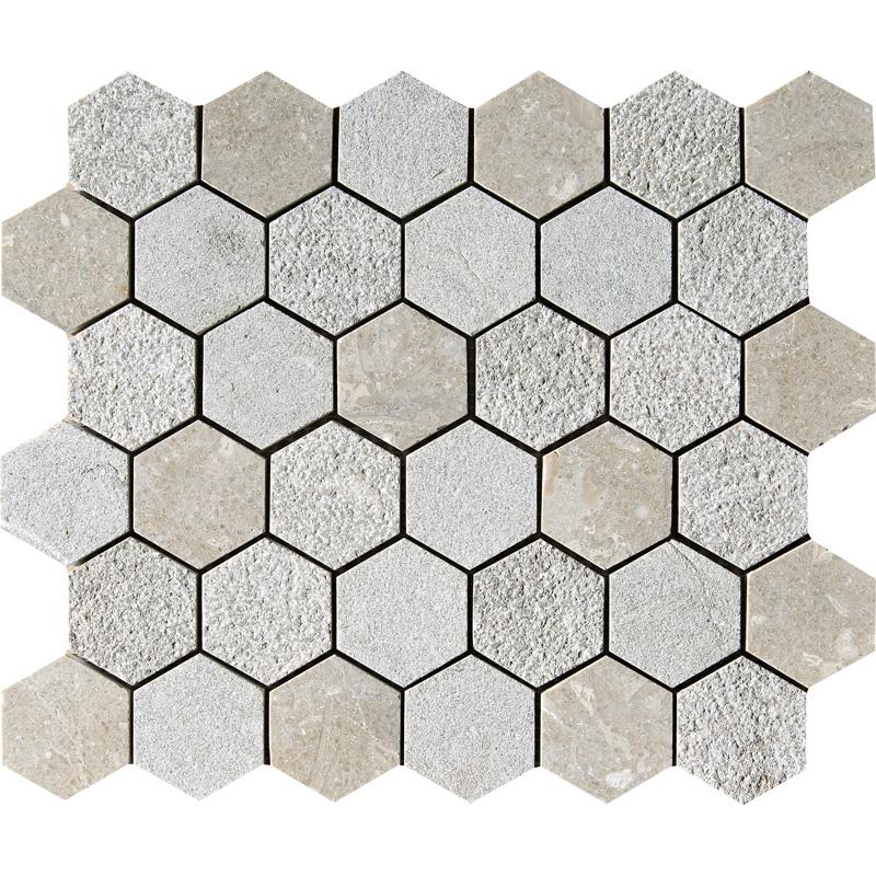 Olive Green Textured 30,5x30,5 Hexagon Limestone Mosaics