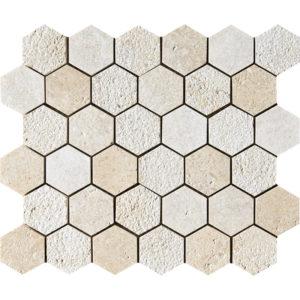 Seashell Textured Hexagon Limestone Mosaics 26,5x31
