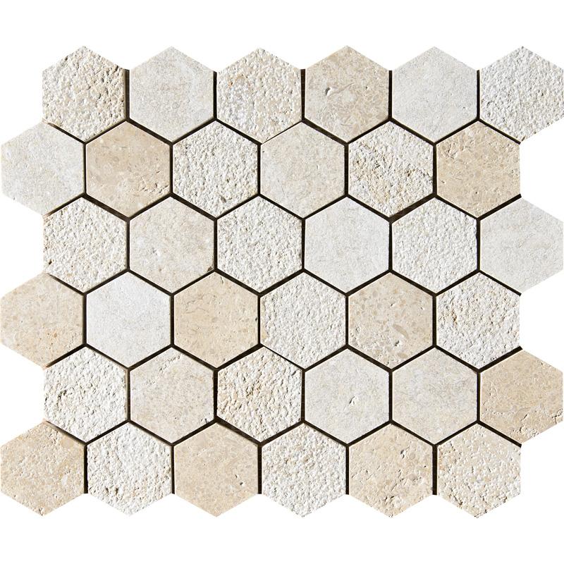 Seashell Textured 30,5x30,5 Hexagon Limestone Mosaics