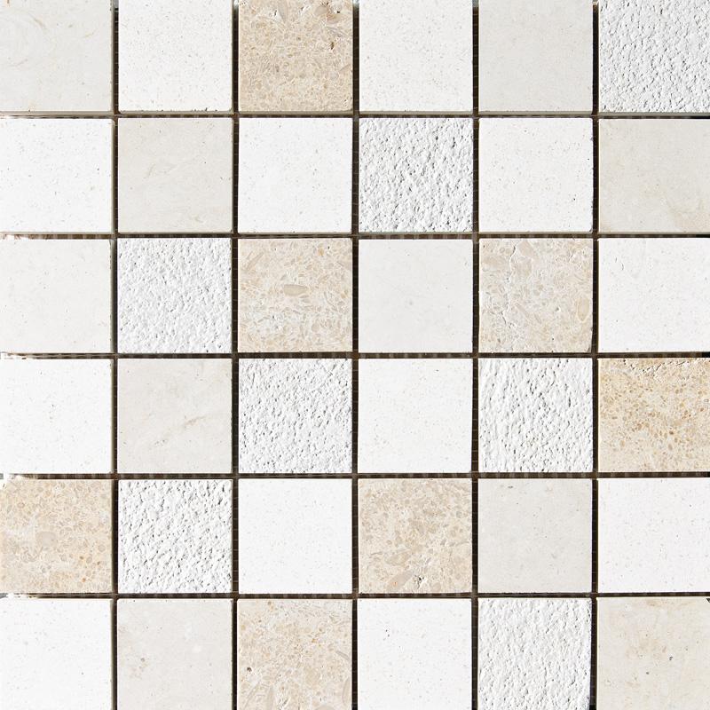 Champagne&seashell&heartsmere Textured 30,5x30,5 2x2 Limestone Mosaics