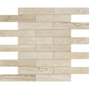Ivory Vein Cut Honed&filled 3x15,2 Travertine Mosaics 30,5x30,5