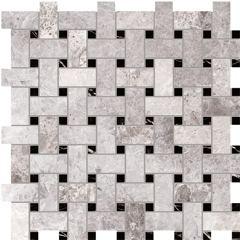 Tundra Gray Polished 30,5x30,5 Basket Weave Marble Mosaics