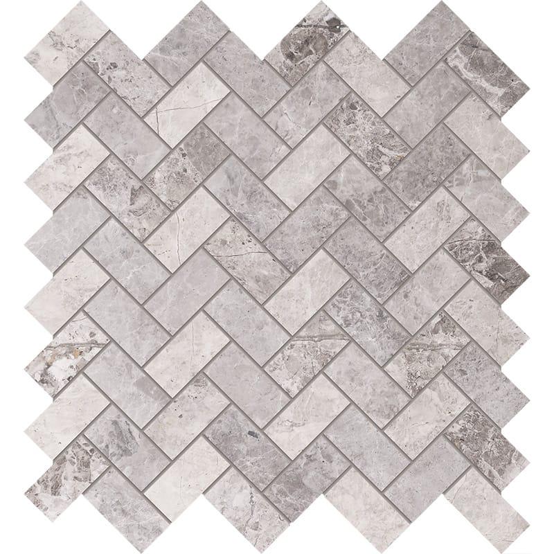 Tundra Gray Honed 30,5x33,5 Herringbone Marble Mosaics