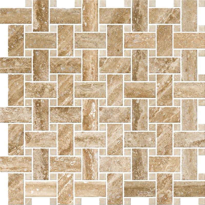Mahogany Vein Cut Honed&filled Basket Weave Travertine Mosaics 30,5x30,5