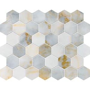 Calacatta Fusion Polished Hexagon Marble Mosaics 26,5x31