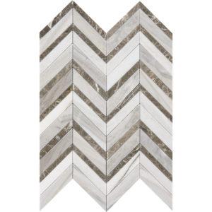 Skyline Dark Honed&polished Chevron Fusion Marble Mosaics 30,2x40,6