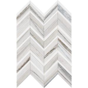 Skyline, Snow White Honed&polished Chevron Fusion Marble Mosaics 30,2x40,6