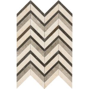 Heartsmere Honed Chevron Fusion Limestone Mosaics 30,2x40,6