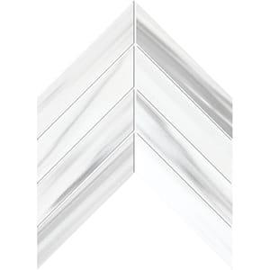 Frost White Honed Chevron Marble Waterjet Decos 33x25,4