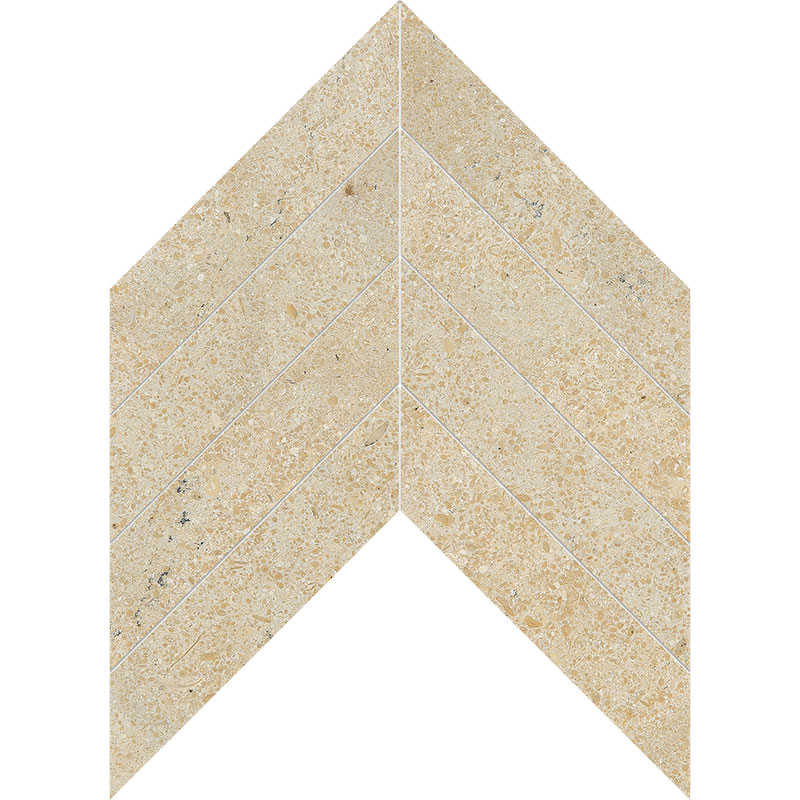Seashell Honed 6,35x16,43 Chevron Limestone Waterjet Decos