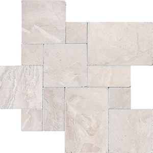 Diana Royal Tumbled Marble Pavers Versailles Pattern