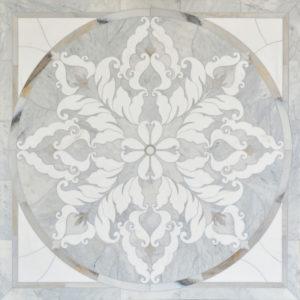 Avenza Light, Skyline, Snow White Multi Finish Rumi Marble Medallions 122x122