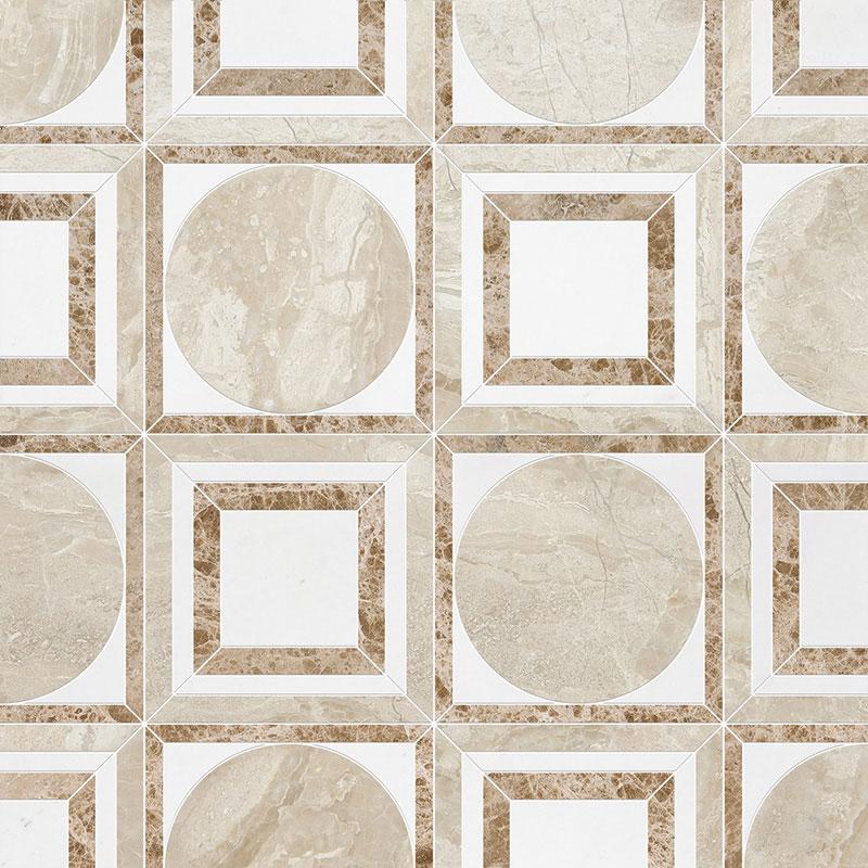 Diana Royal, Aspen White, Paradise Multi Finish 30,5x30,5 Cicero Marble Waterjet Decos