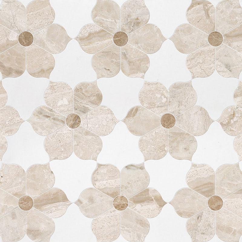 Diana Royal, Aspen White, Paradise Multi Finish 30,81x35,56 Theodora Marble Waterjet Decos